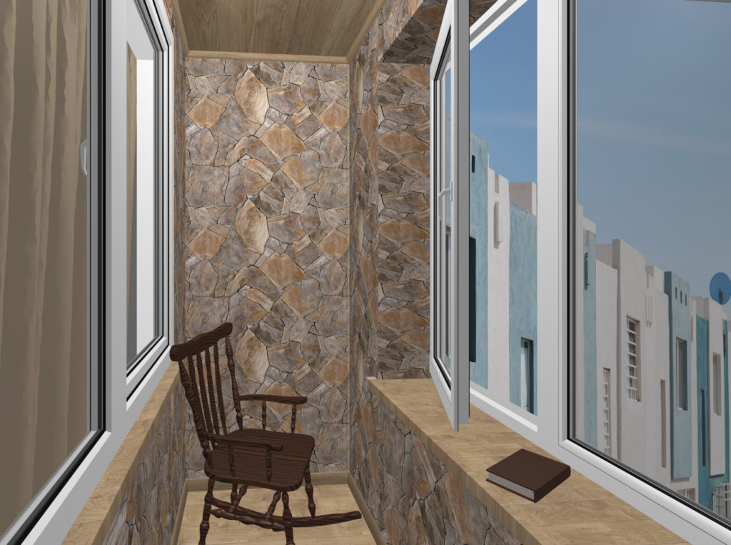 балкон дикий камень