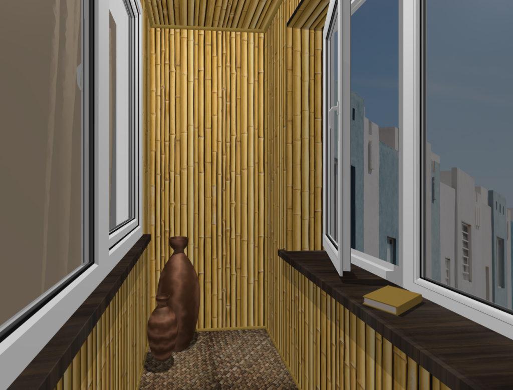 балкон сухой бамбук