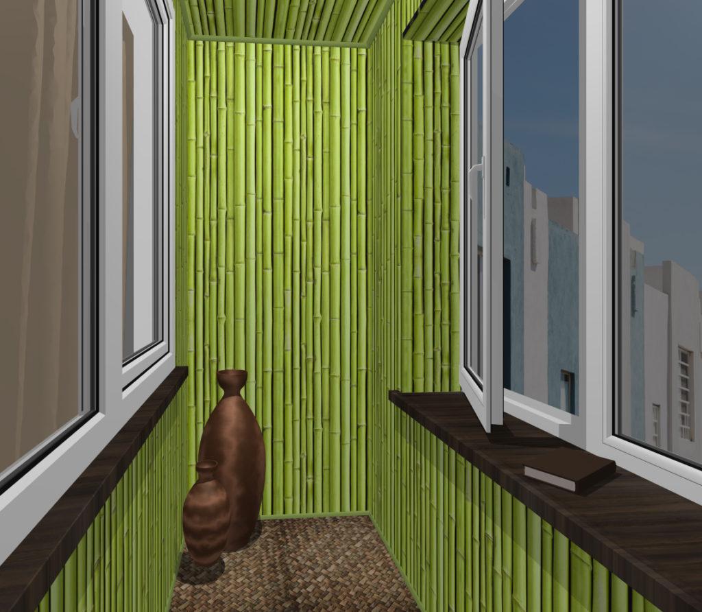 балкон зеленый бамбук